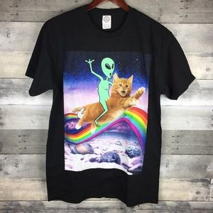 Mens Graphic Tee Alien Riding Kitten Flying Space
